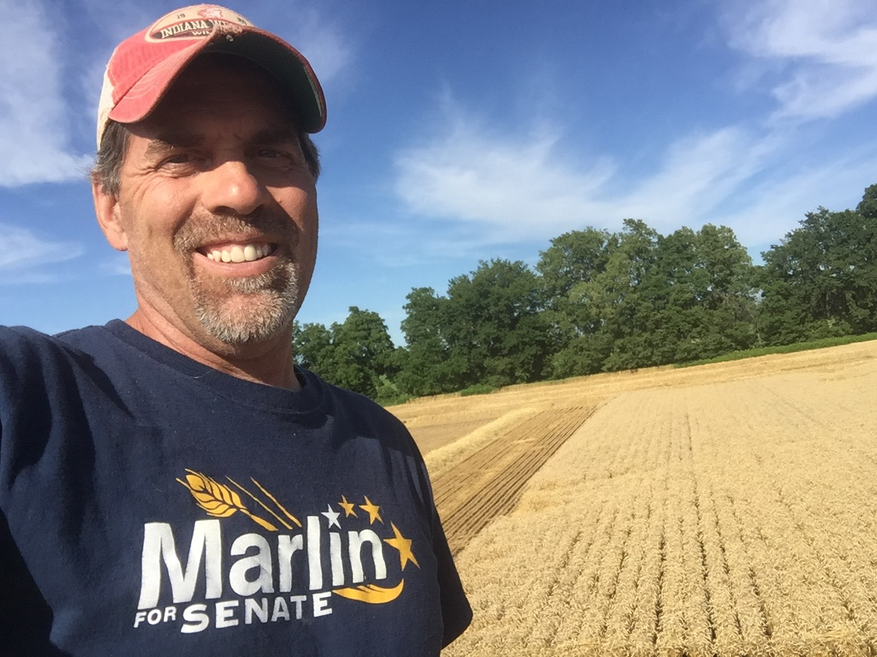My favorite crop to harvest!  Blue skies, golden wheat, beautiful!
